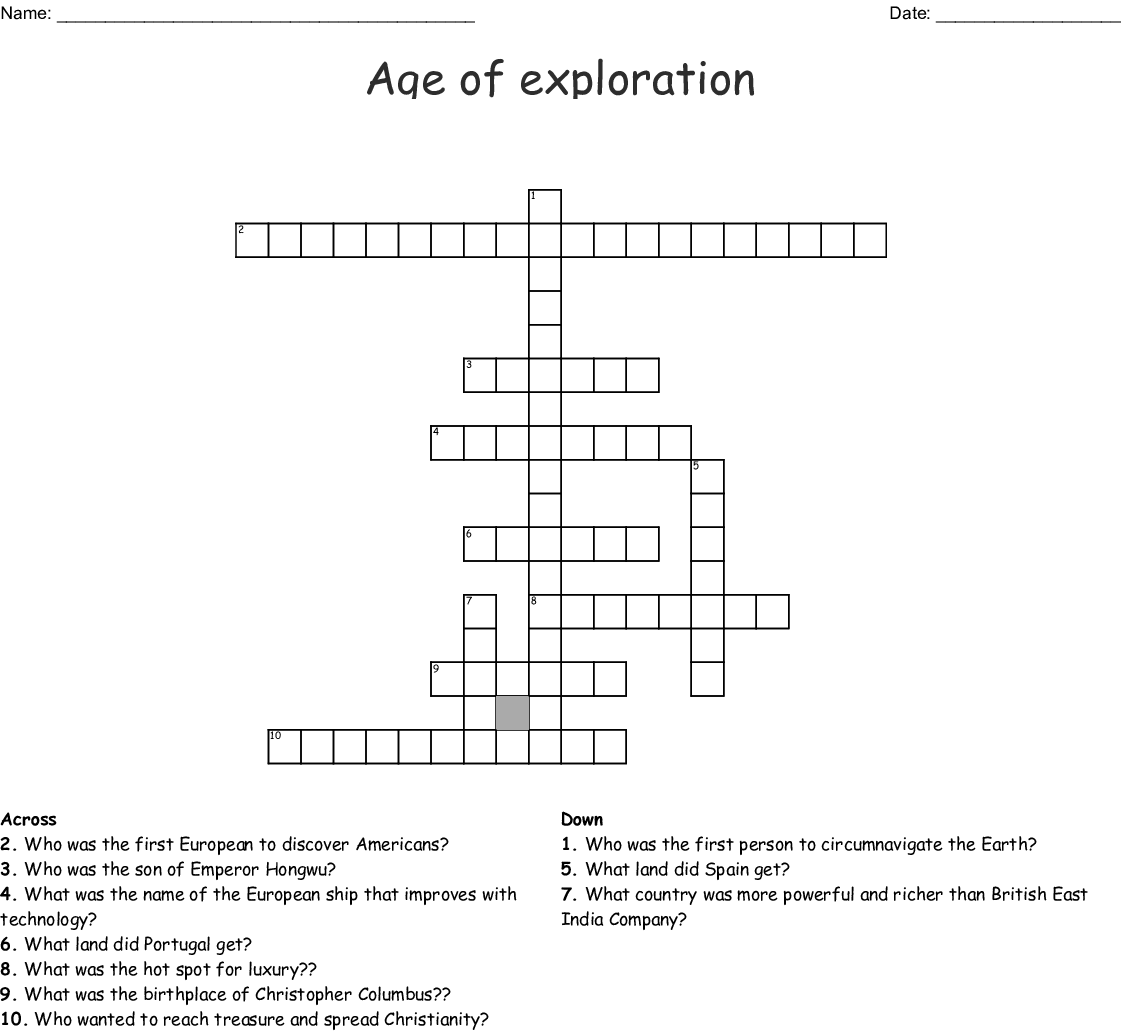 Age Of Exploration Crossword