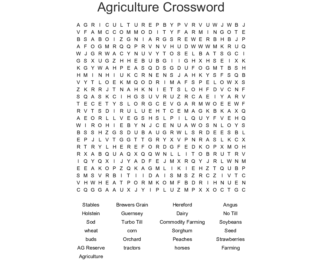 Horticulture Introduction Word Search