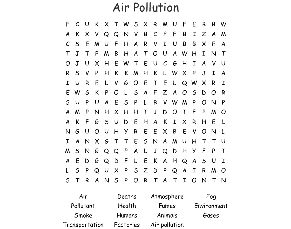 Air Pollution Word Search