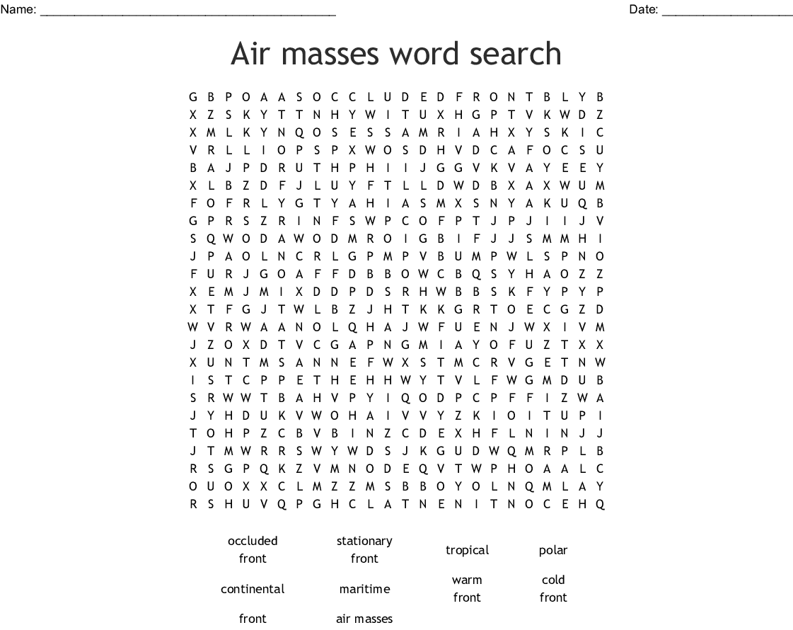 Air Masses Word Search