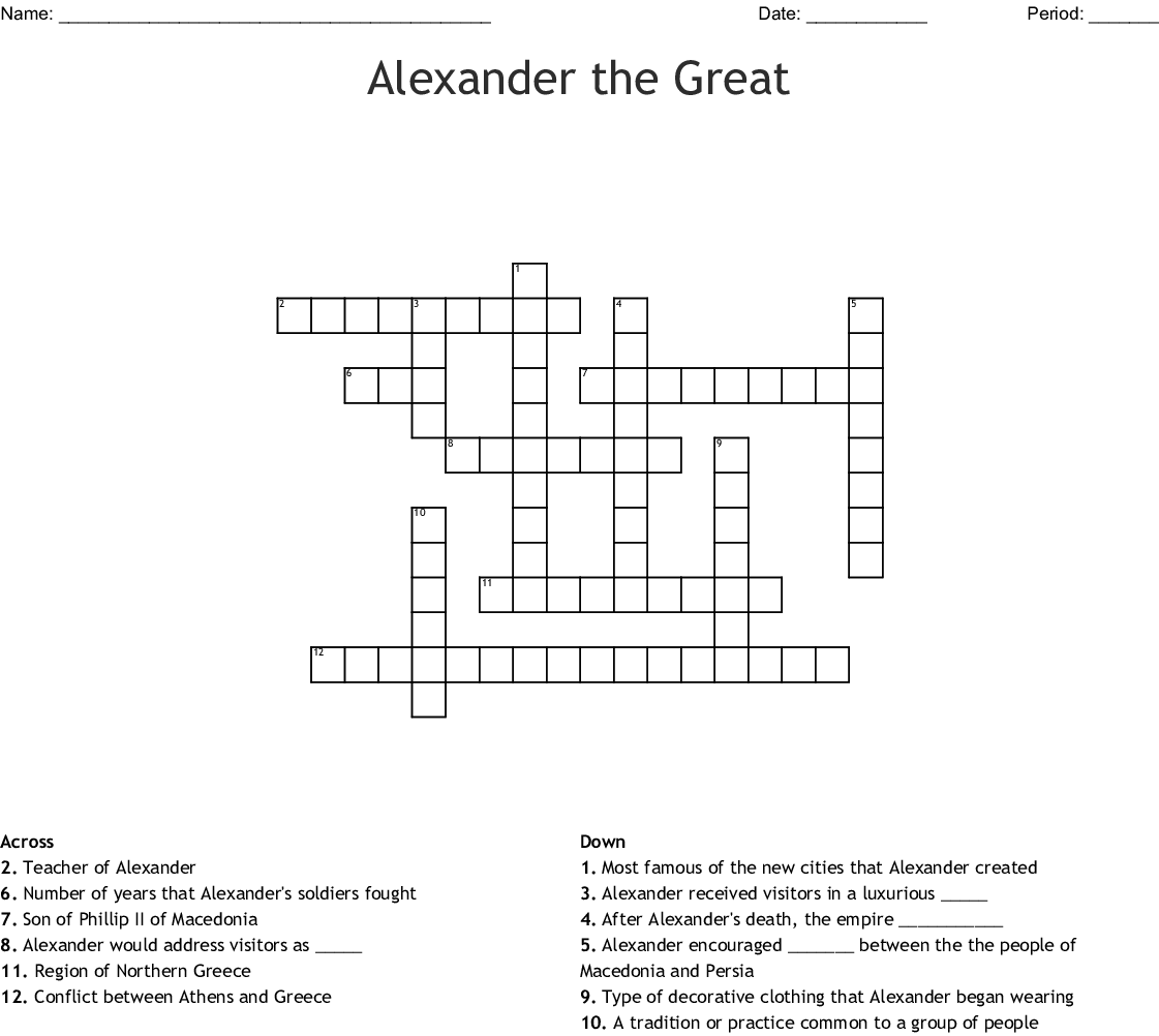 Alexander The Great Crossword