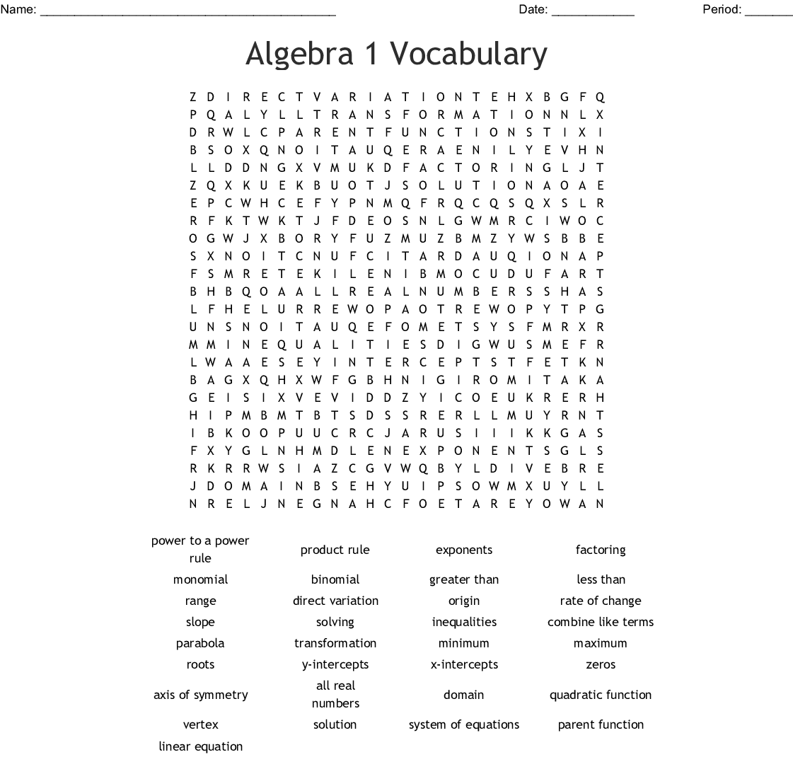Algebra 1 Vocabulary Word Search