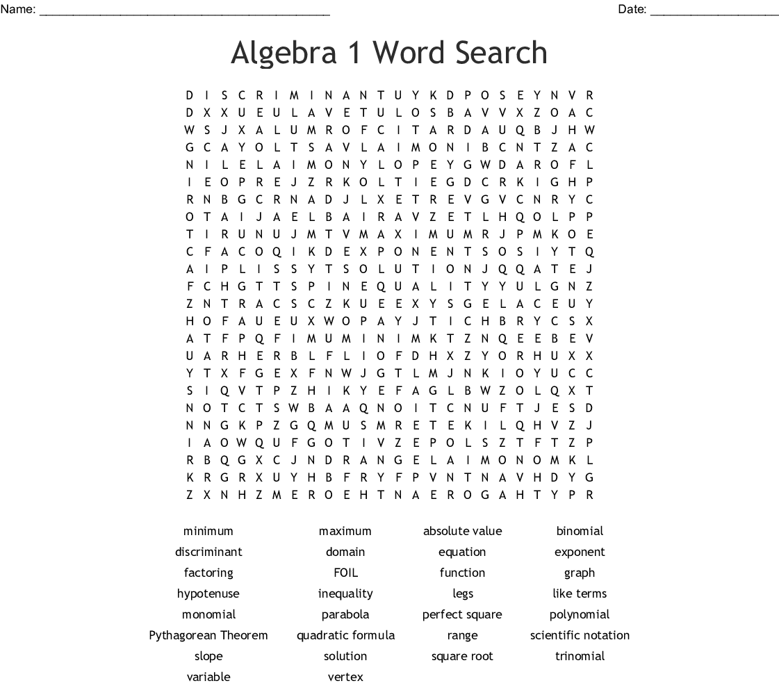 Algebra 1 Word Search