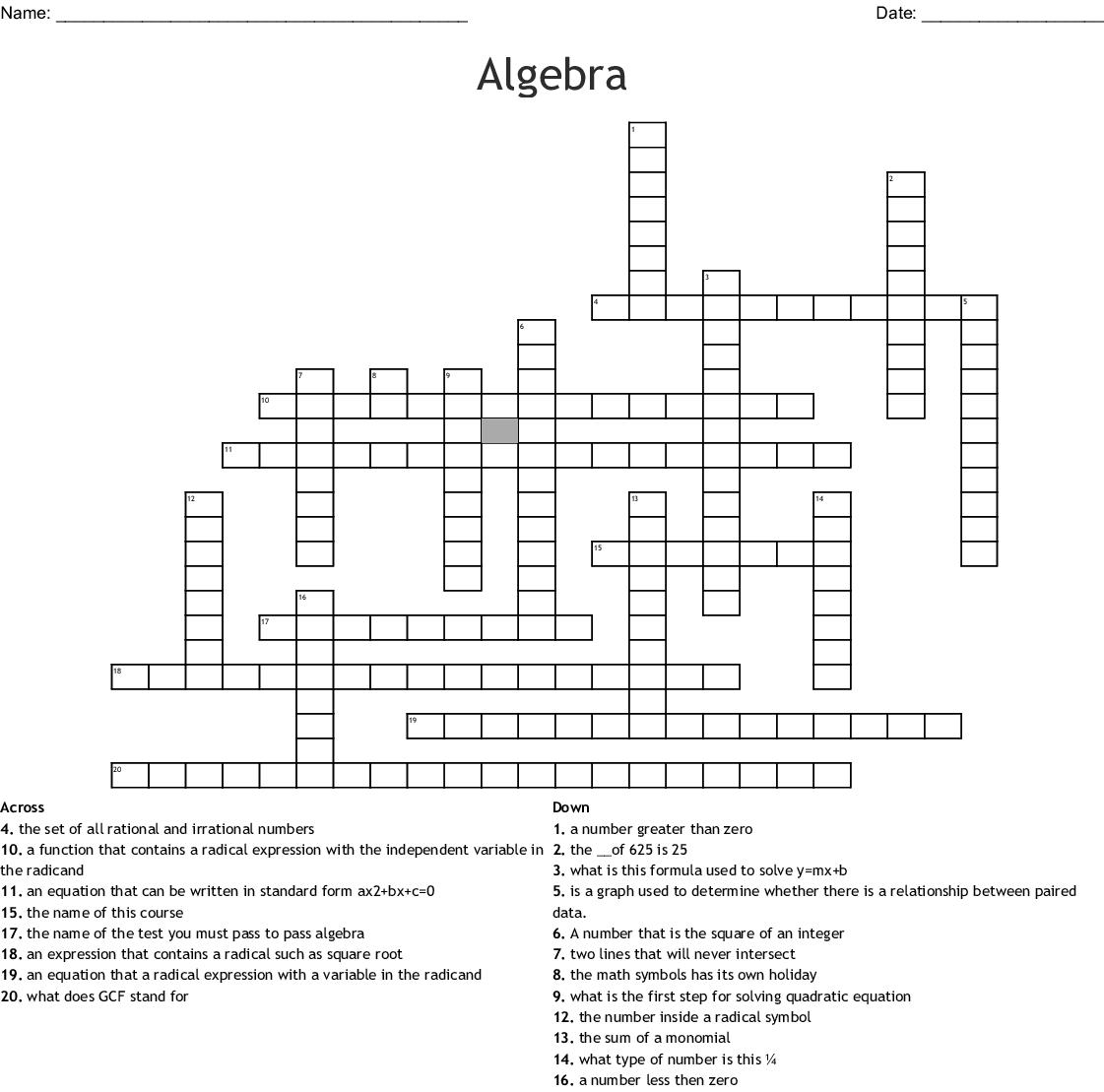 Algebra Crossword
