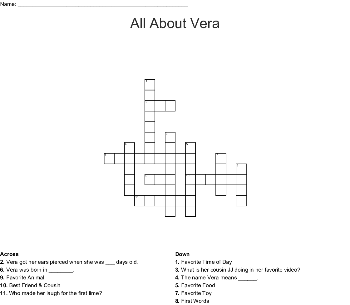 All About Vera Crossword