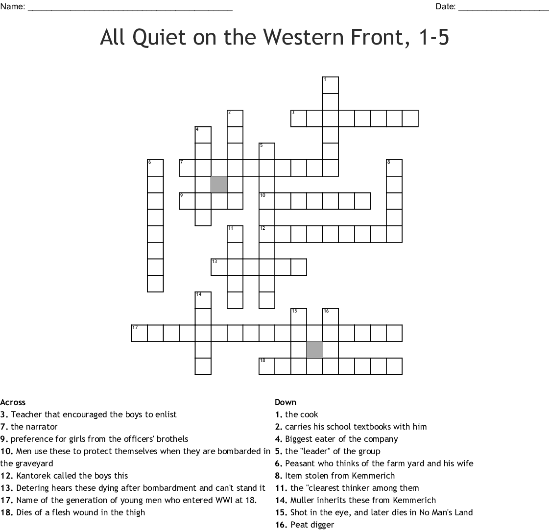 All Quiet On The Western Front 1 5 Crossword