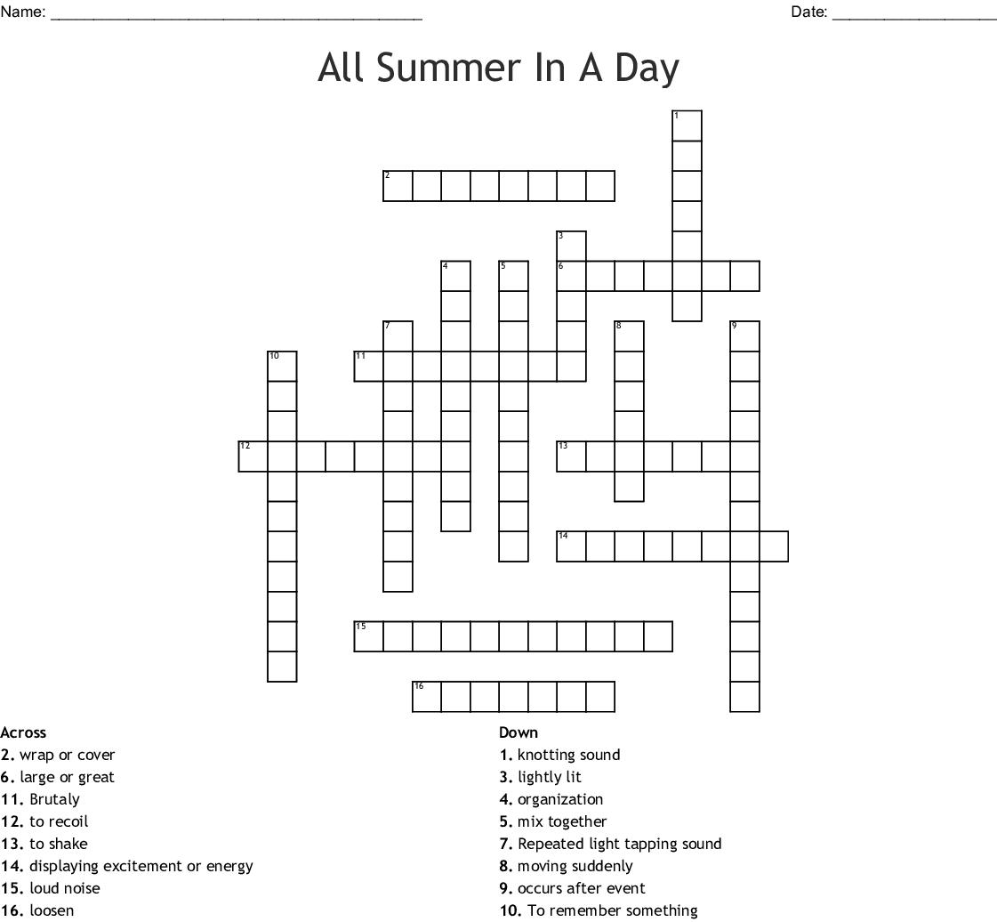 Kind Of Summer Crossword