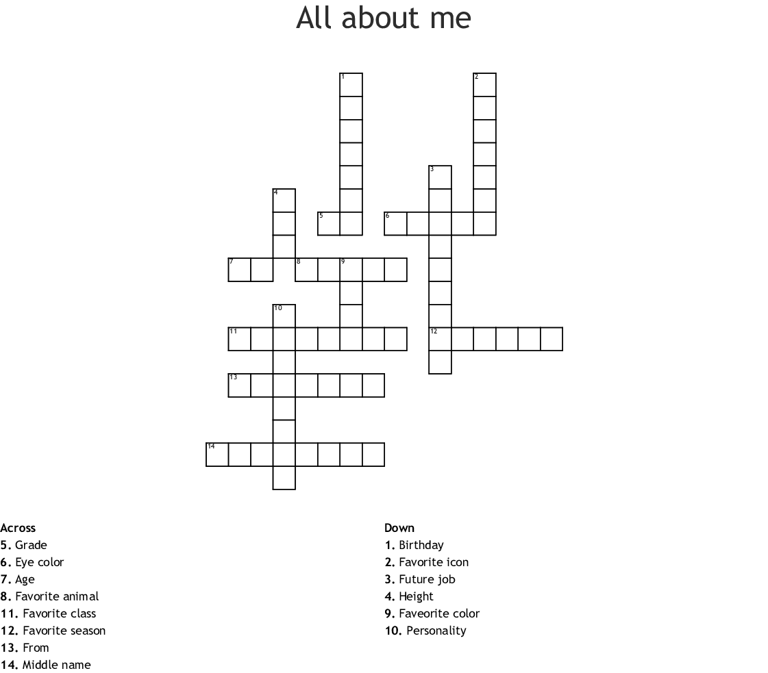 All About Me Crossword