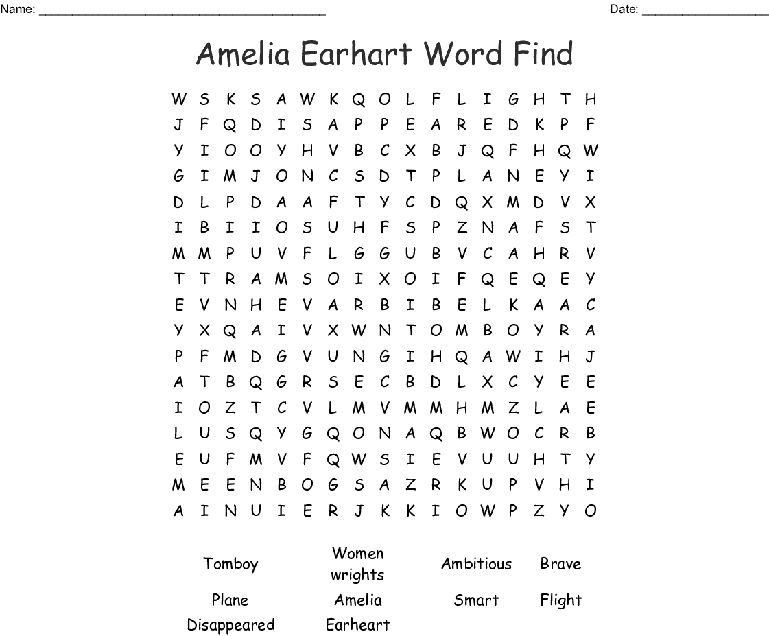 Amelia Earhart Word Find Word Search