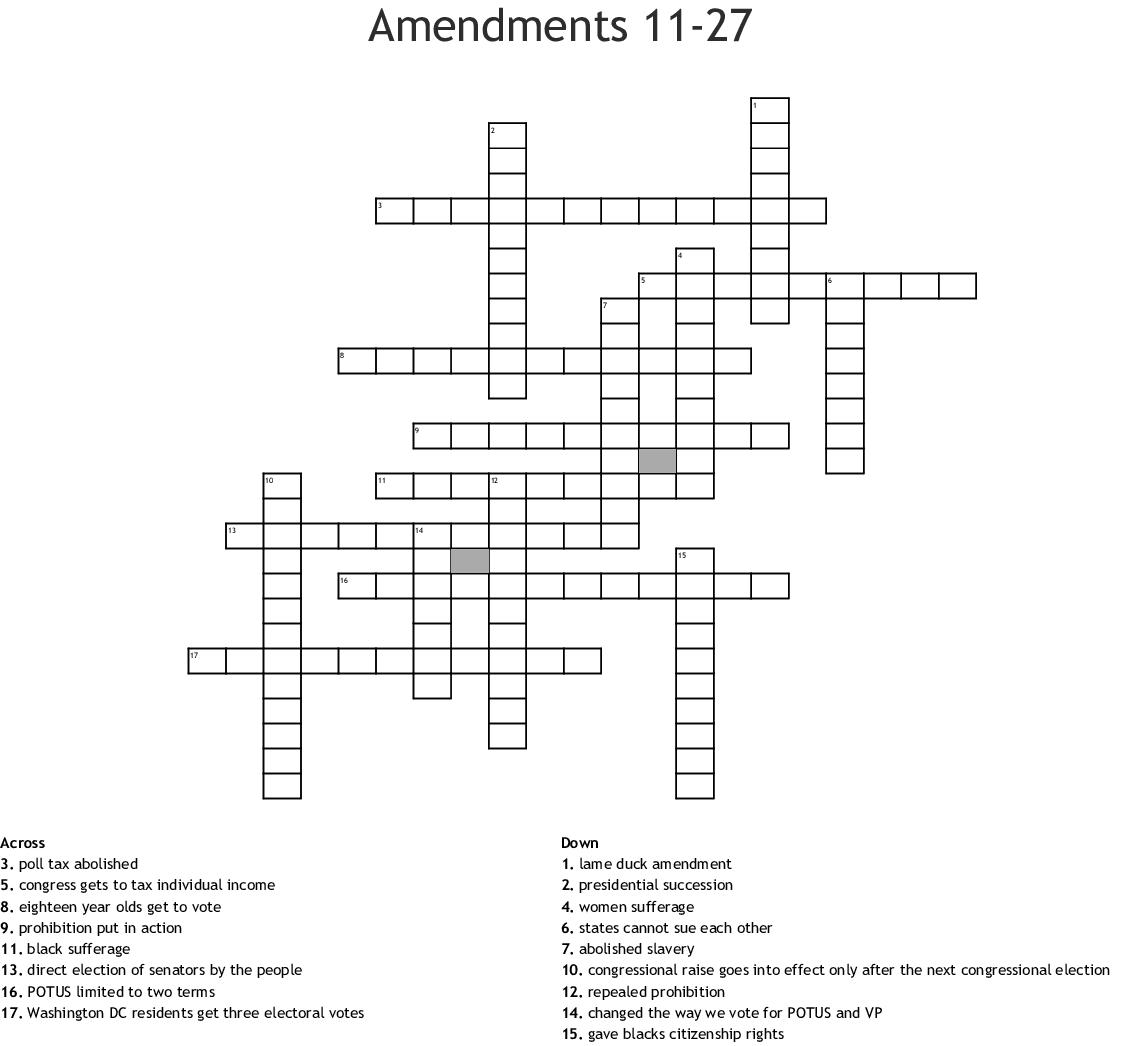 Amendments 11 27 Crossword