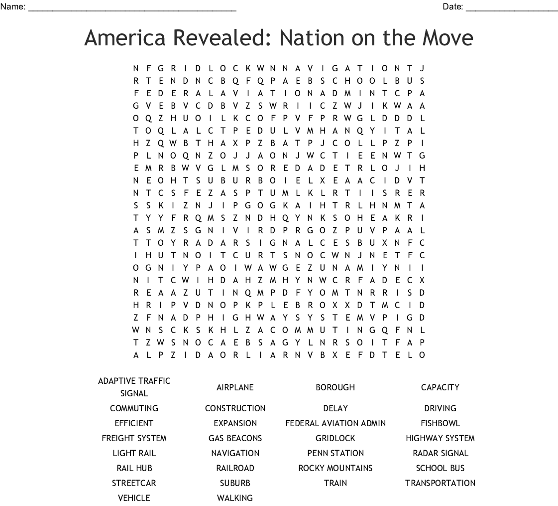 America Revealed Nation On The Move Word Search