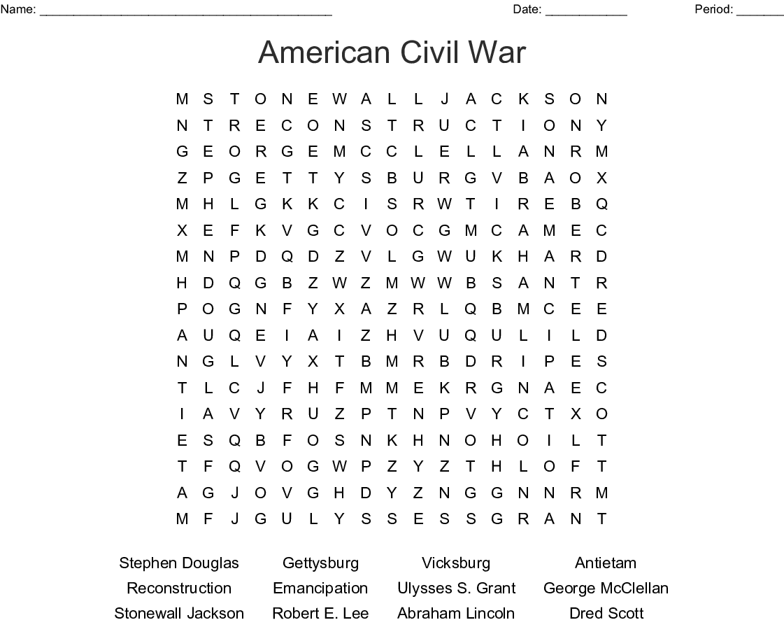 American Civil War Word Search