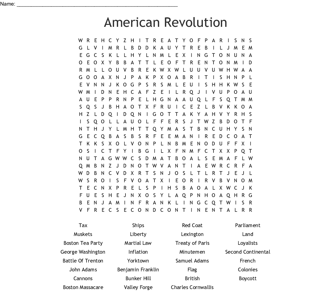 I Survived The American Revolution Word Search