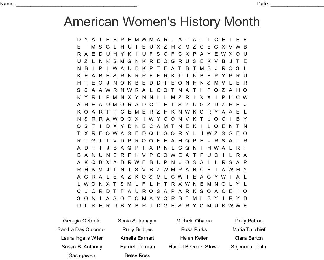 American Women S History Month Word Search