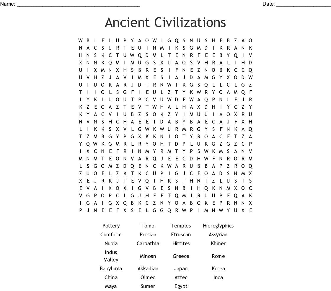 The Olmec Civilization Word Search