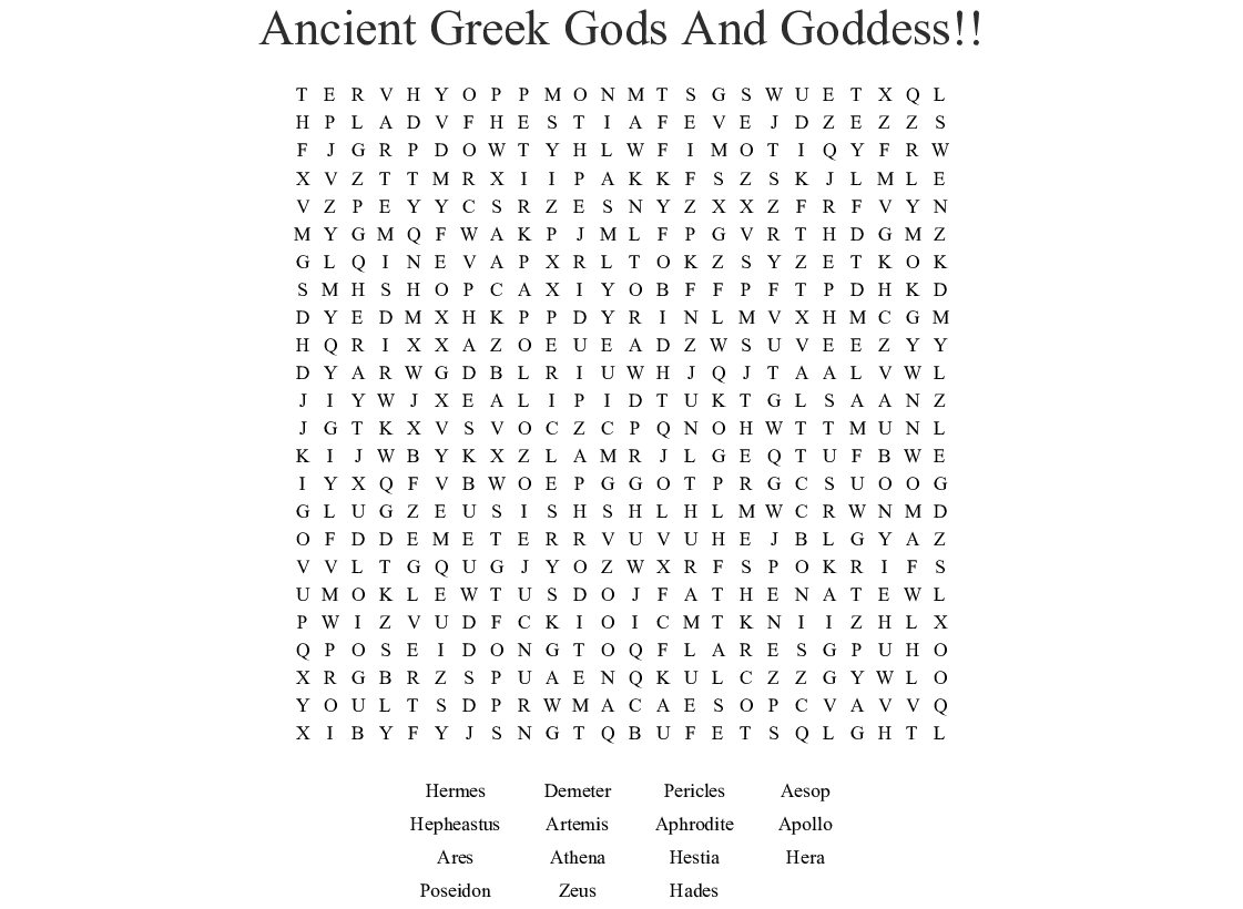 Ancient Greek Gods And Goddess Word Search