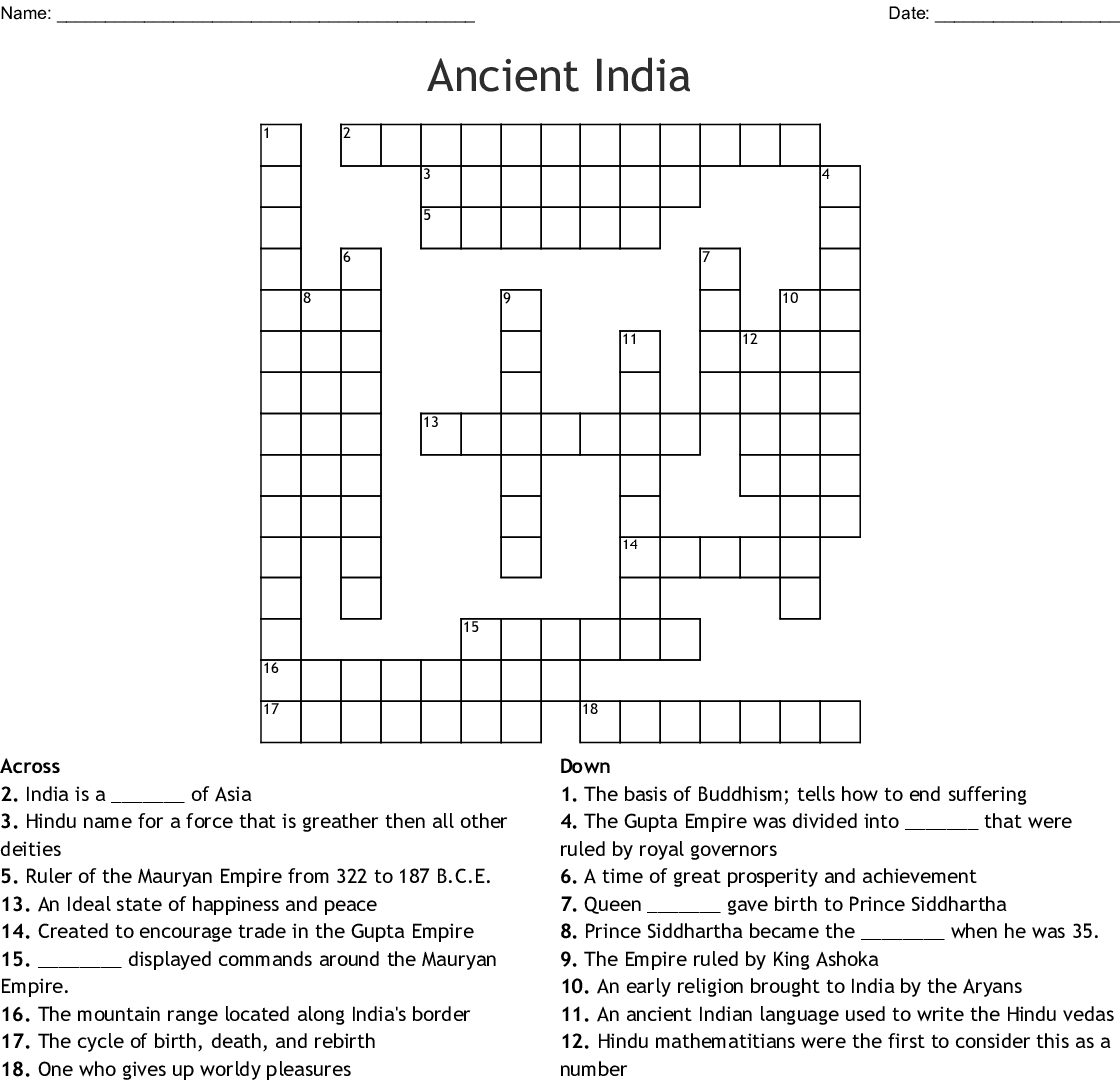 Ancient India Crossword Puzzle Answers