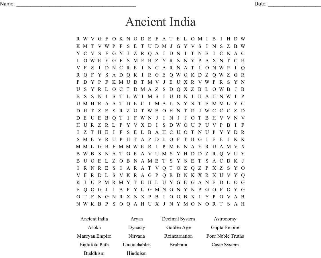 Ancient India Amp China Crossword