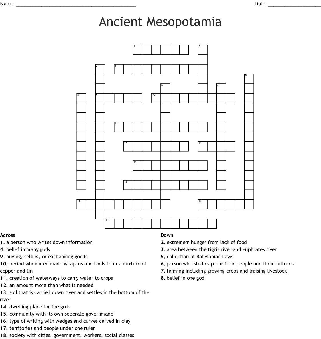 Mesopotamia Vocabulary Crossword