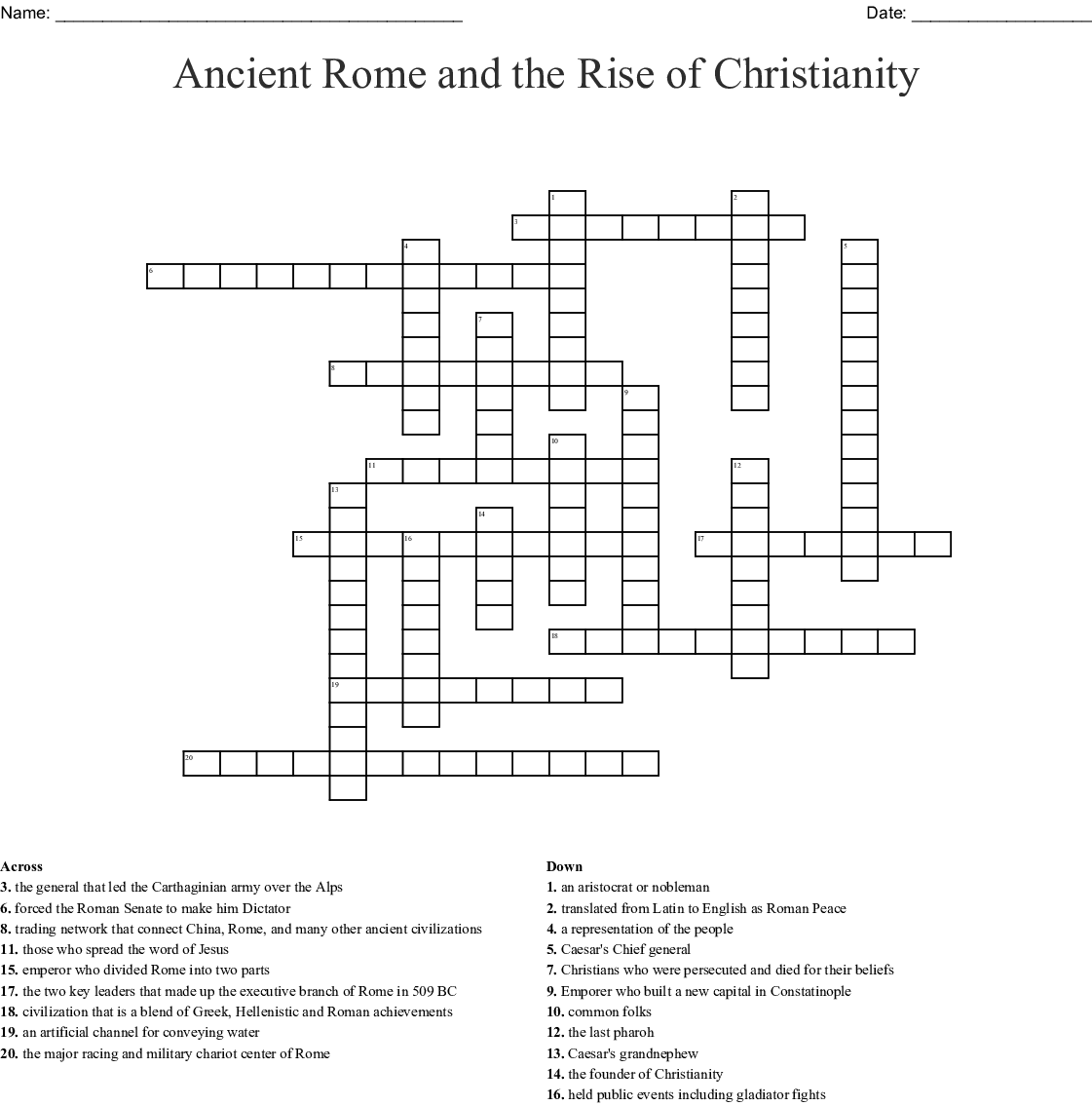 Ancient Rome And Early Christianity Word Search