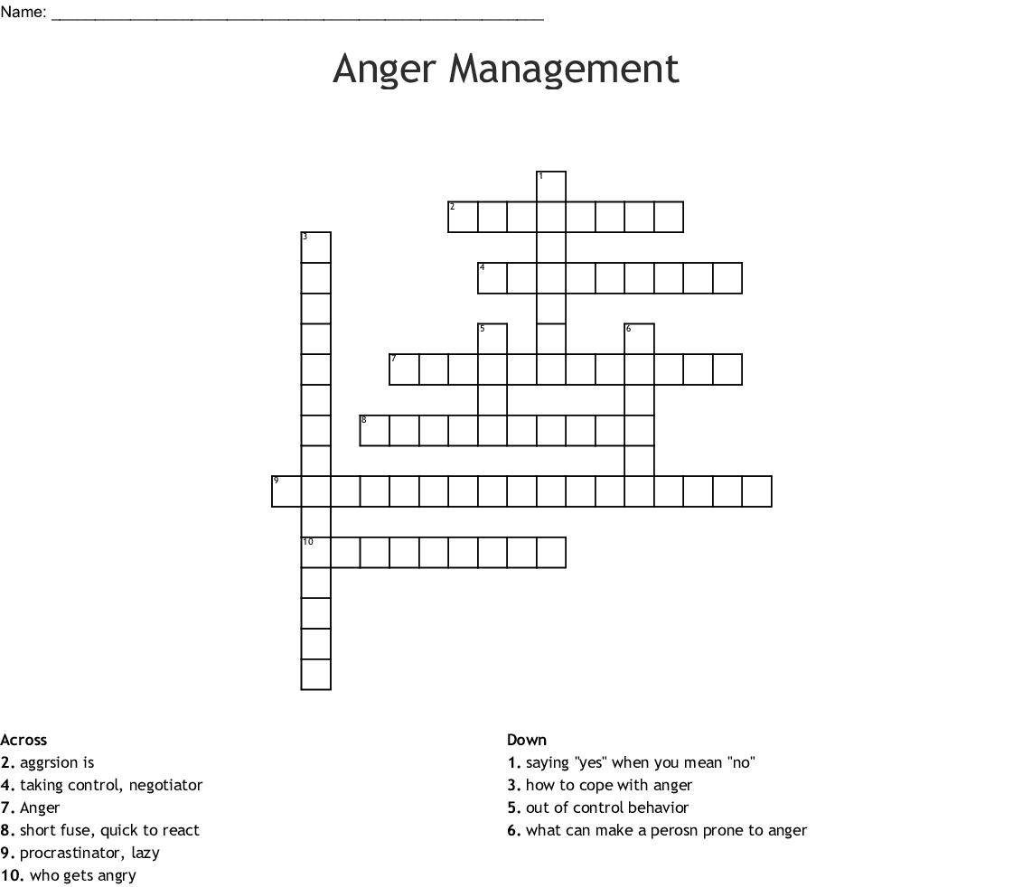 Anger Management Crossword