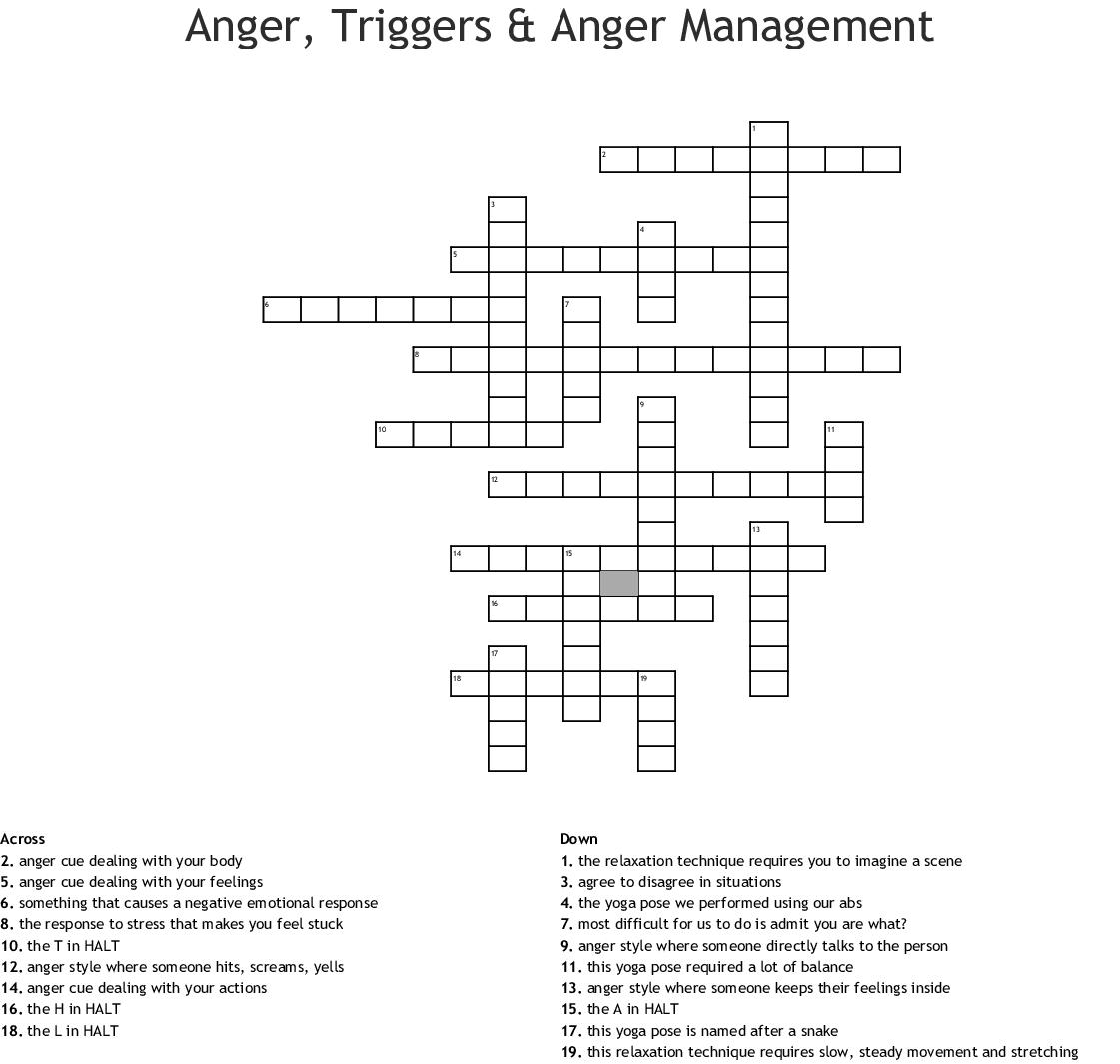Anger Management Word Scramble