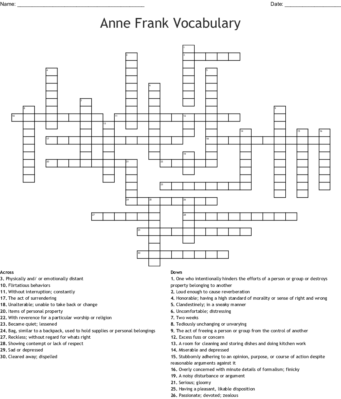 Anne Frank Diary Of A Young Girl Vocabulary Crossword