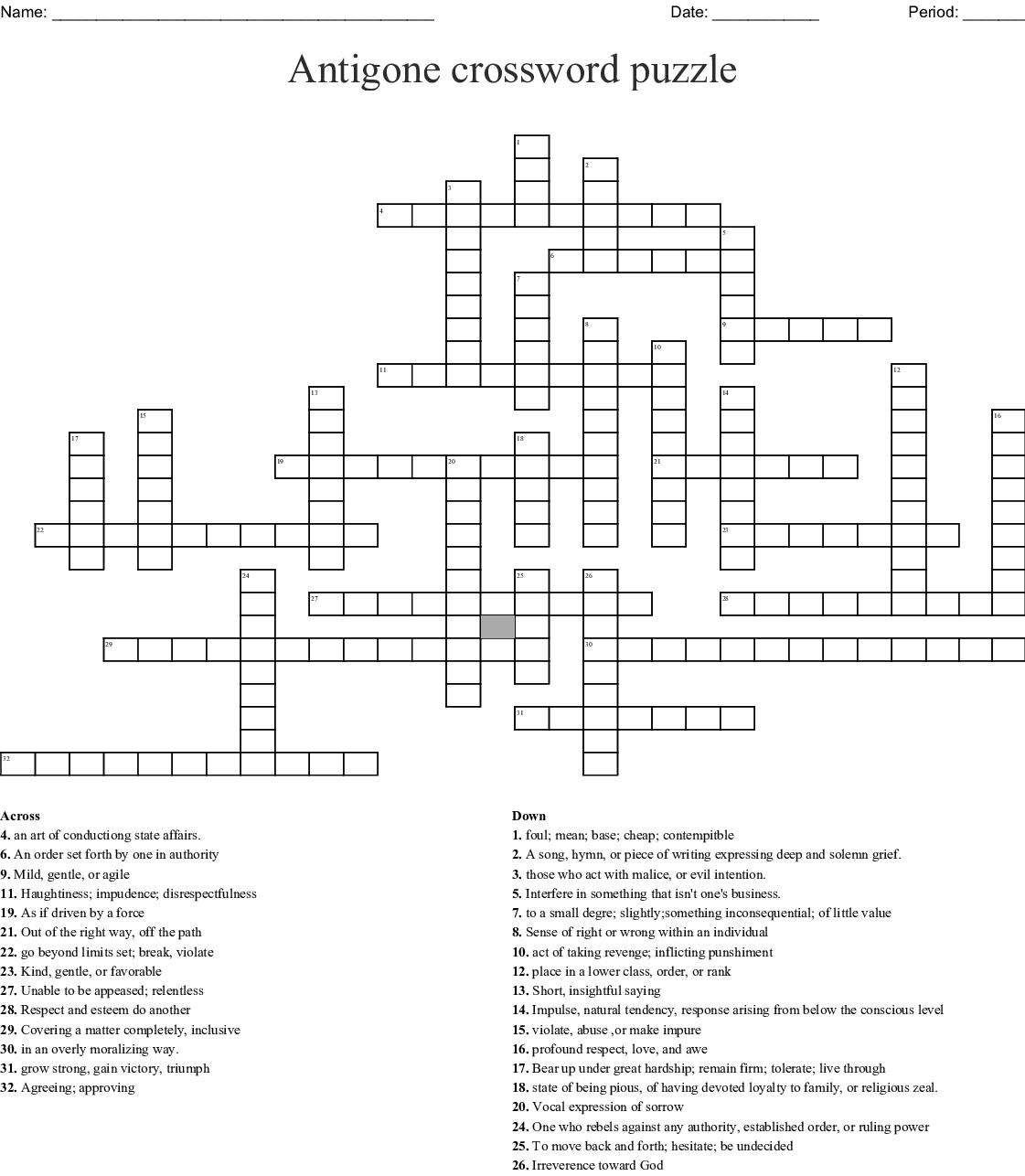 Looking Glass Wars Vocab Part 2 Crossword