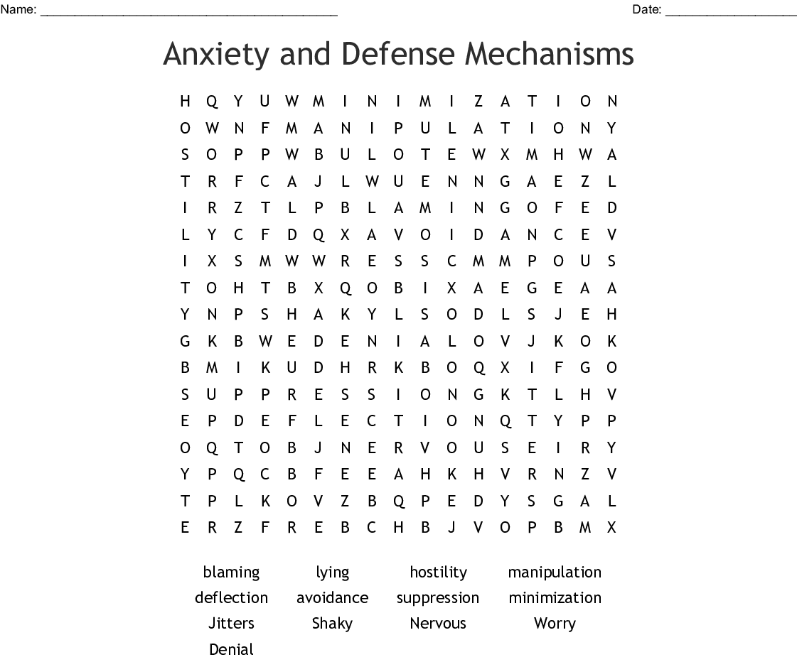 Anxiety And Defense Mechanisms Word Search
