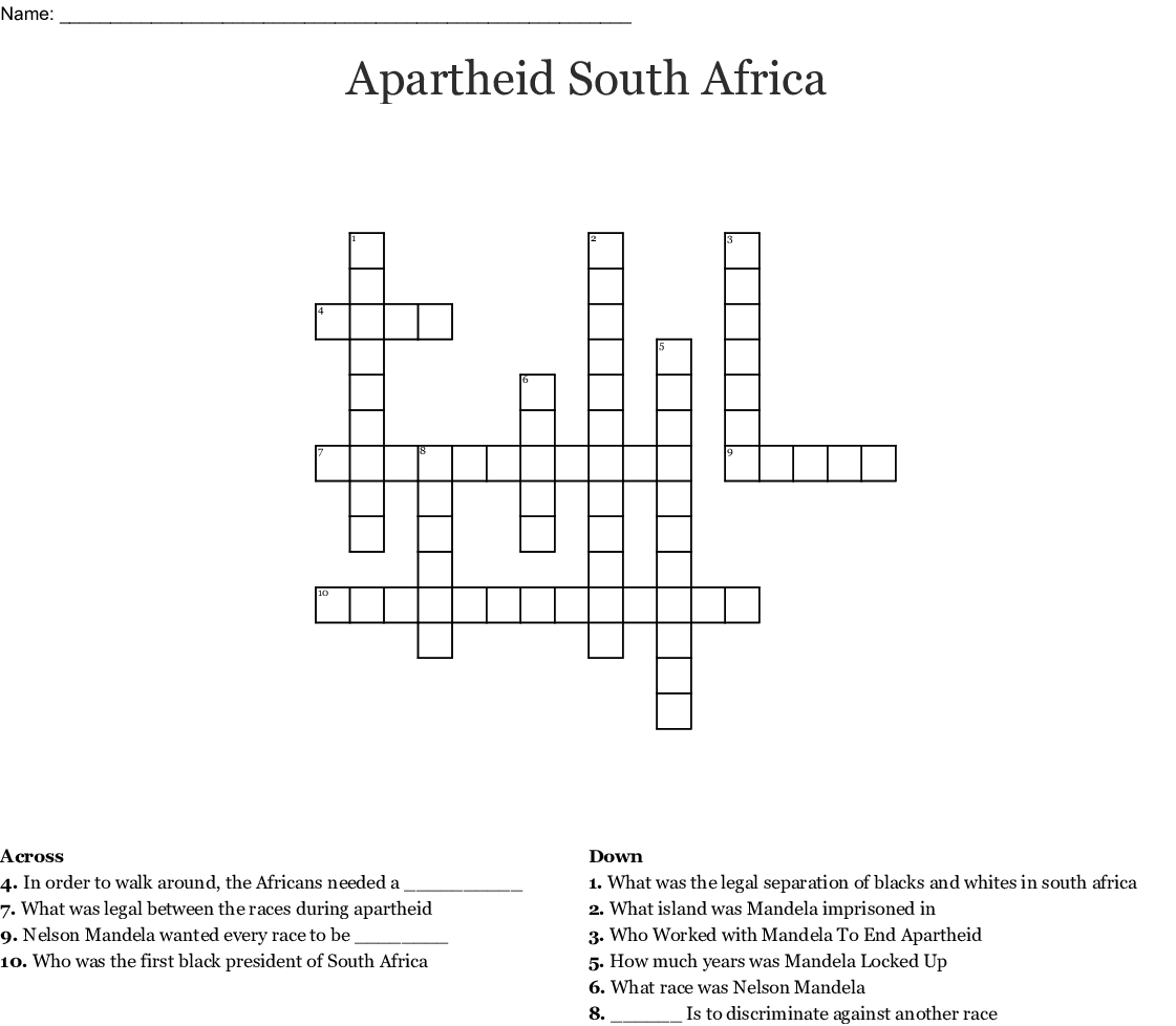 Apartheid Questions Worksheet