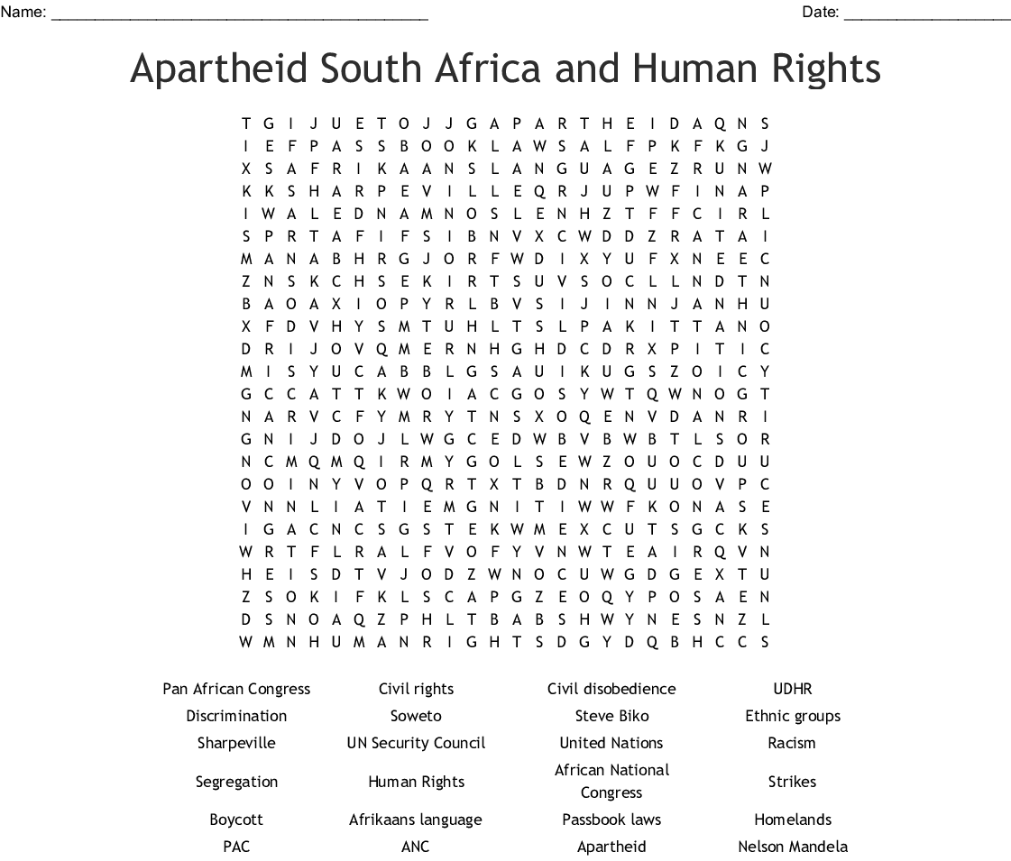 Apartheid Word Search
