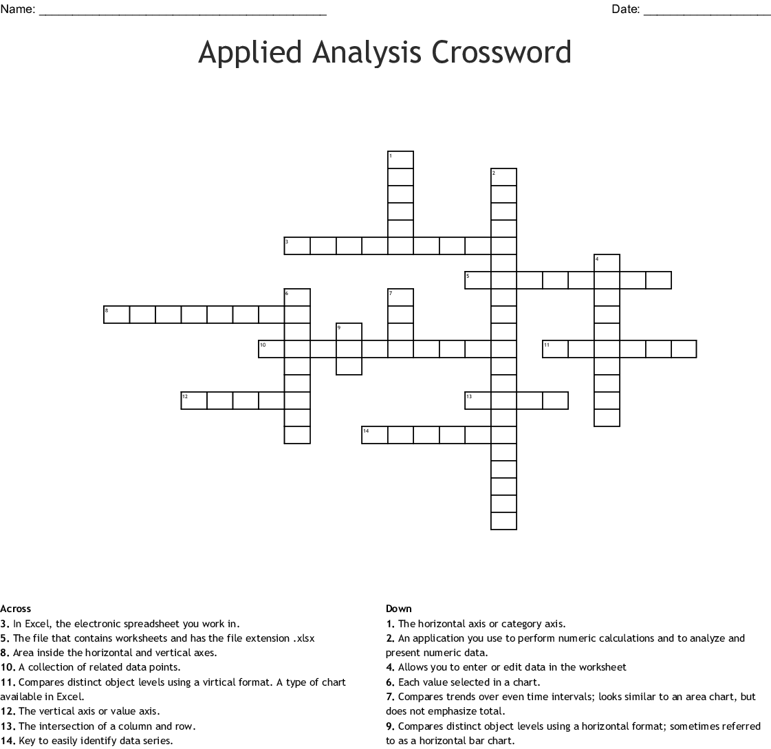 Graph And Chart Terminology Crossword