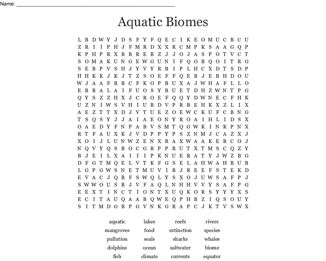 Aquatic Biomes Word Search