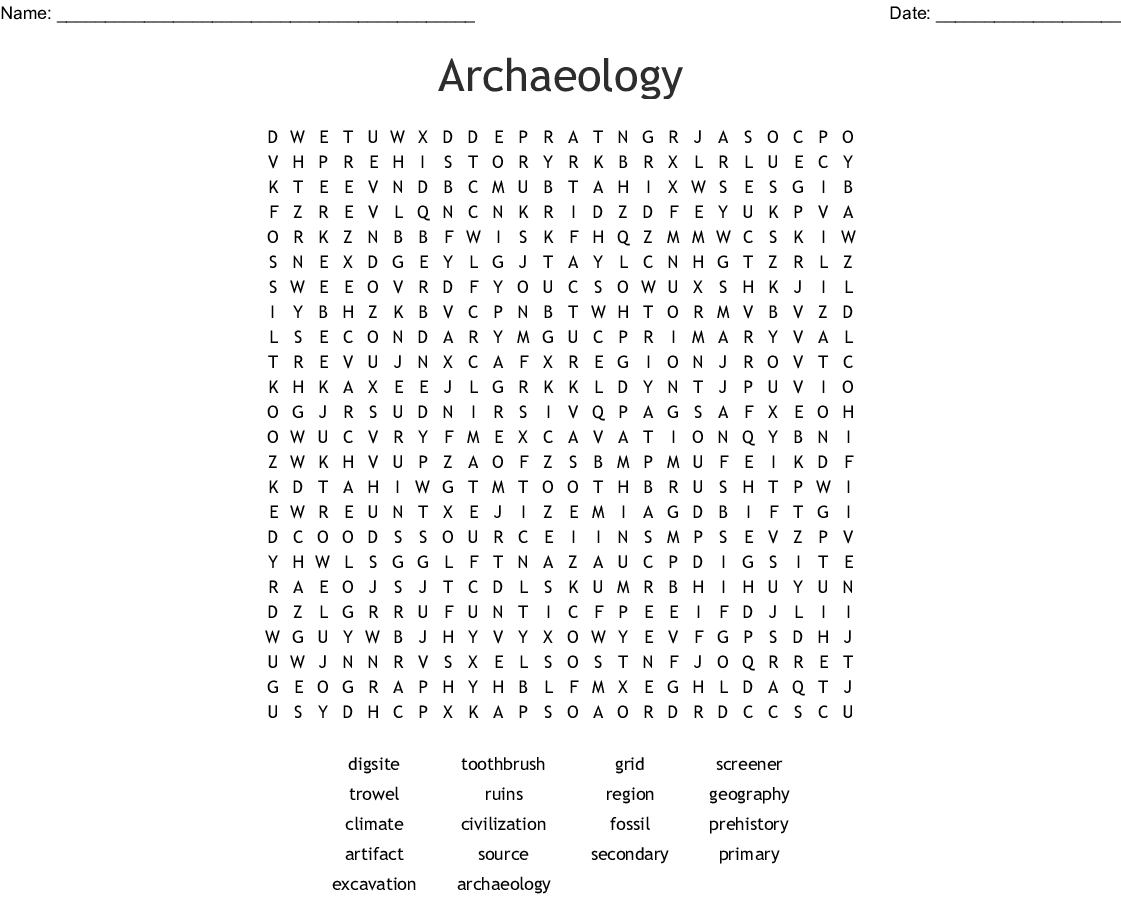 Archaeology Crossword