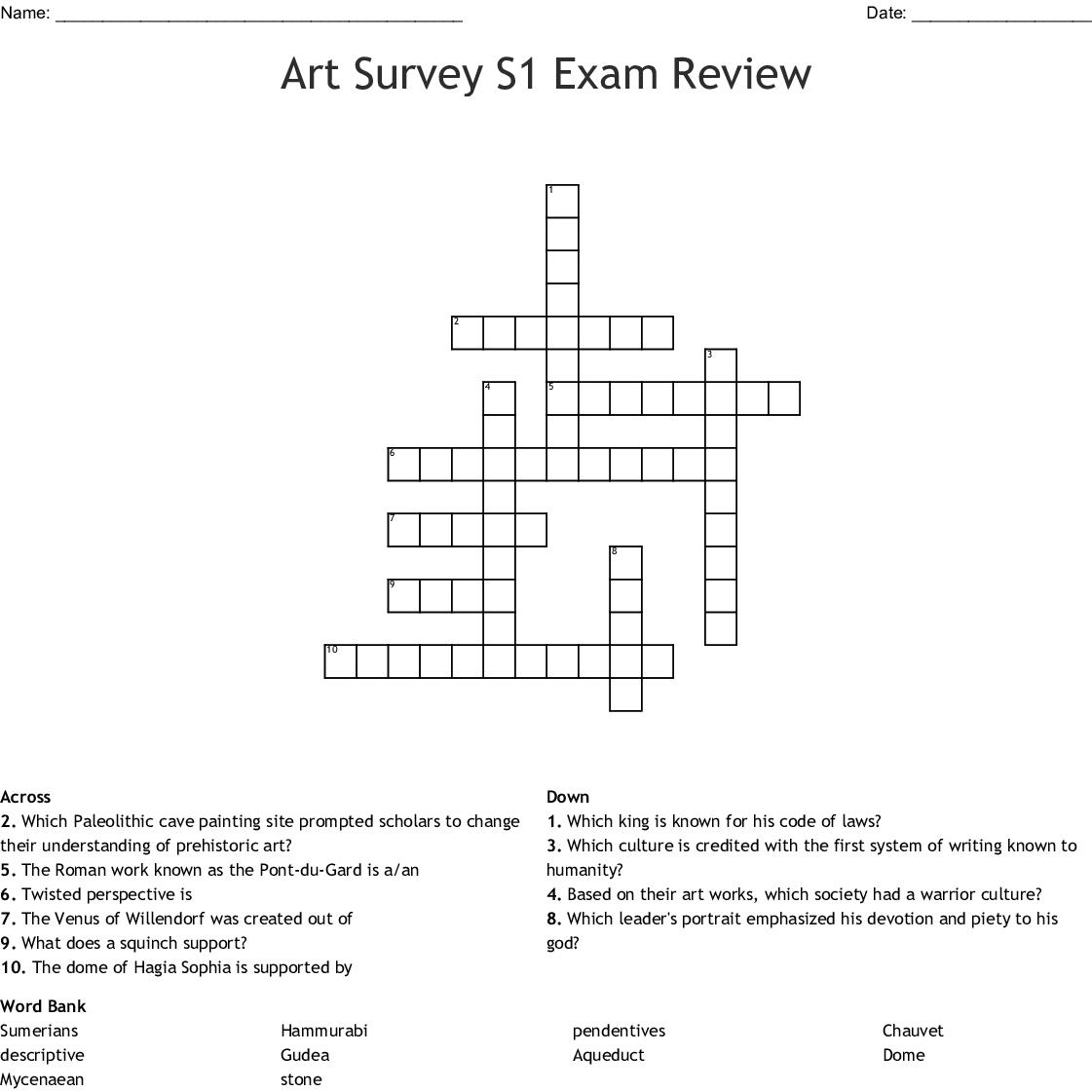 Art Survey S1 Exam Review Crossword