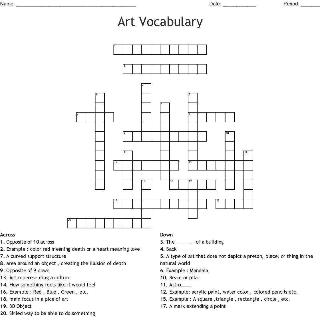Art Vocabulary Crossword