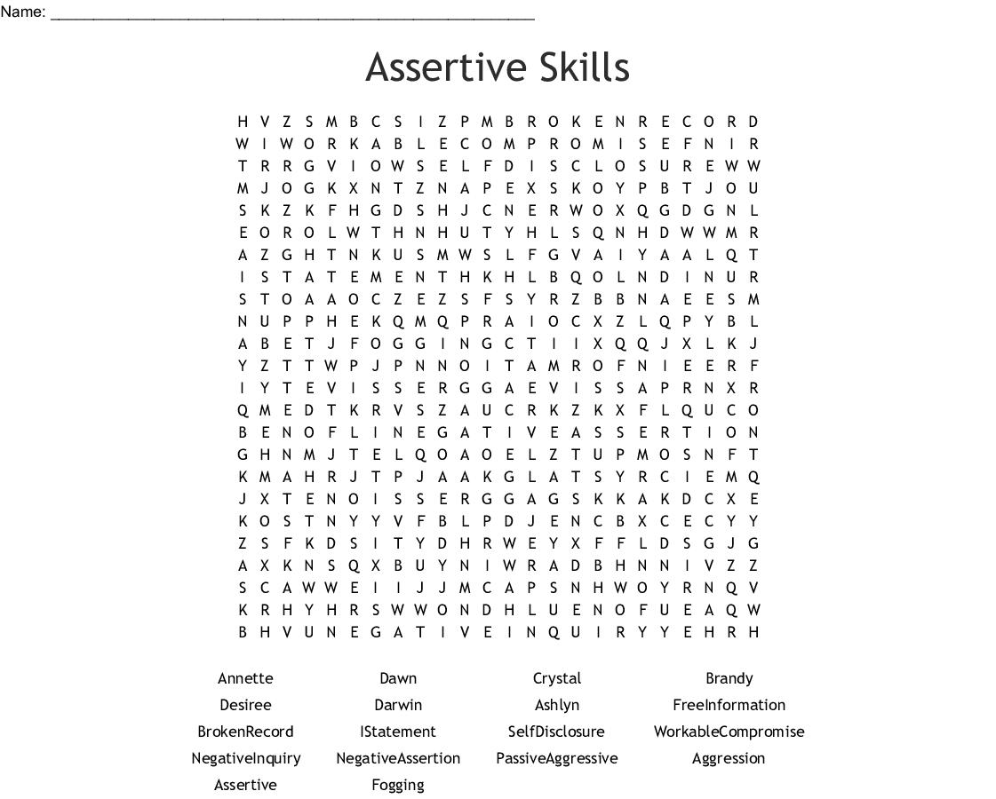 Assertive Skills Word Search