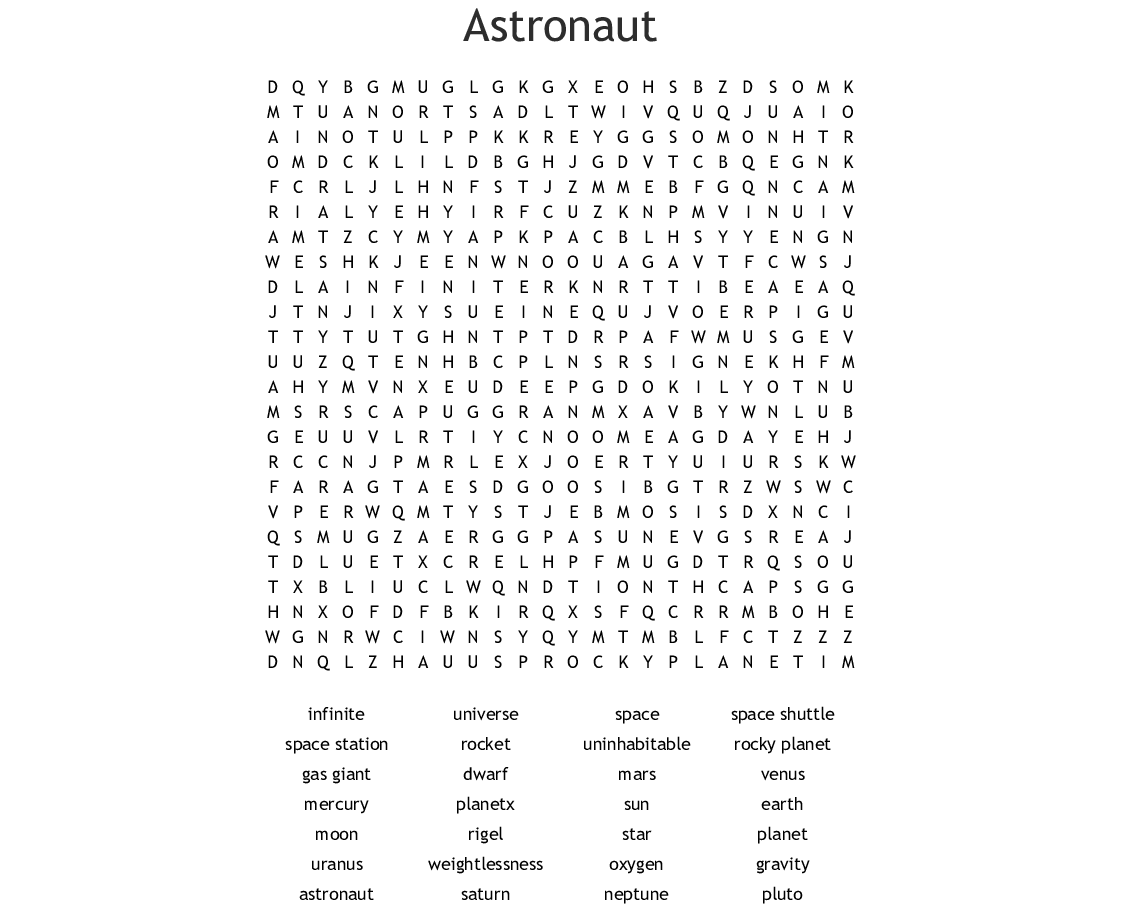 Space Wordsearch