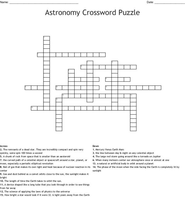 Moon Phases Crossword - WordMint