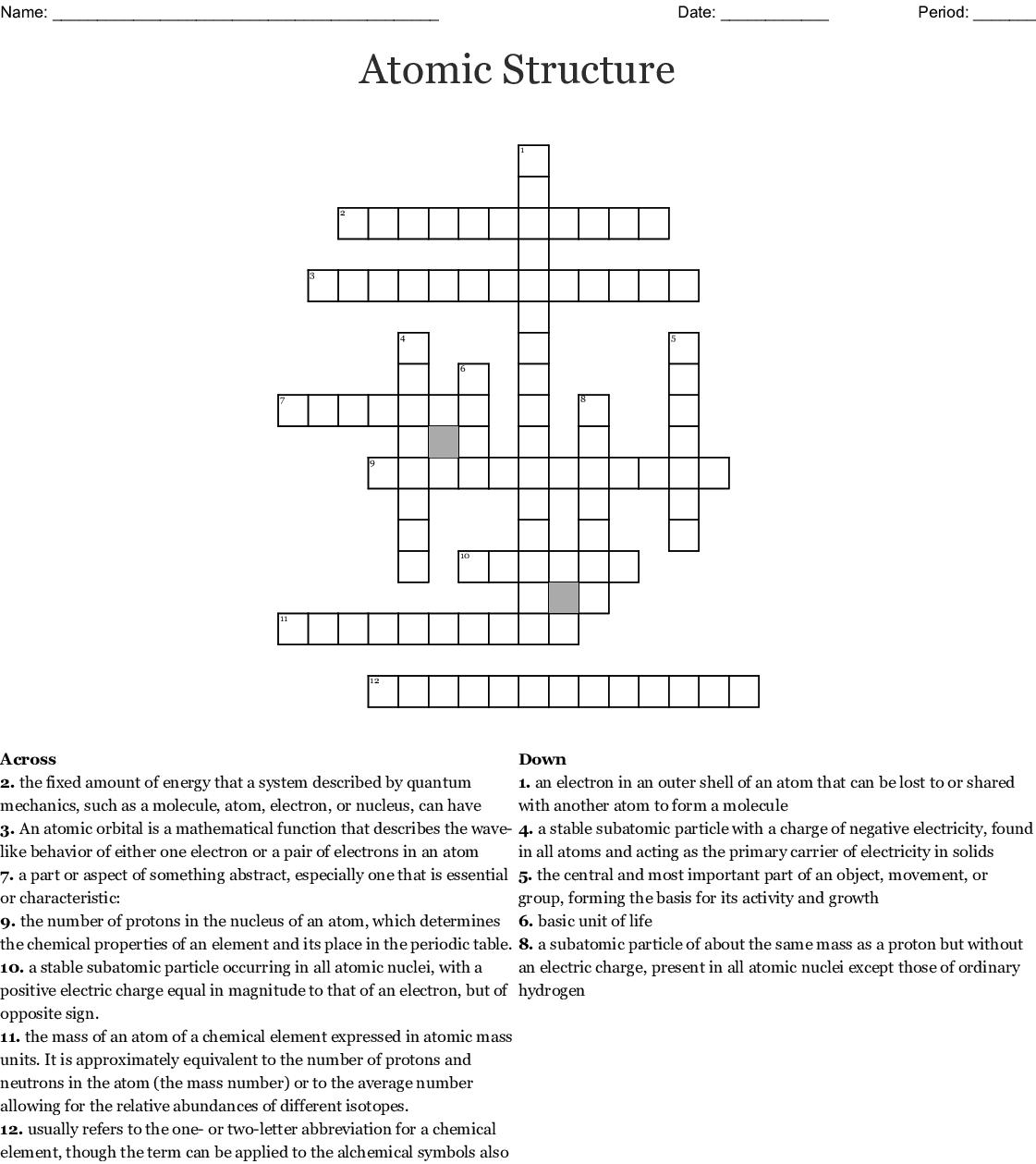 Atomic Structure Crossword