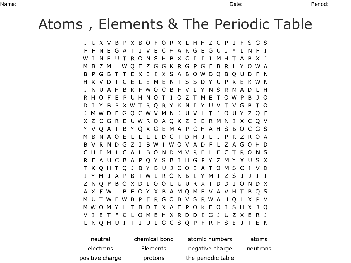 Atoms Elements Amp The Periodic Table Word Search