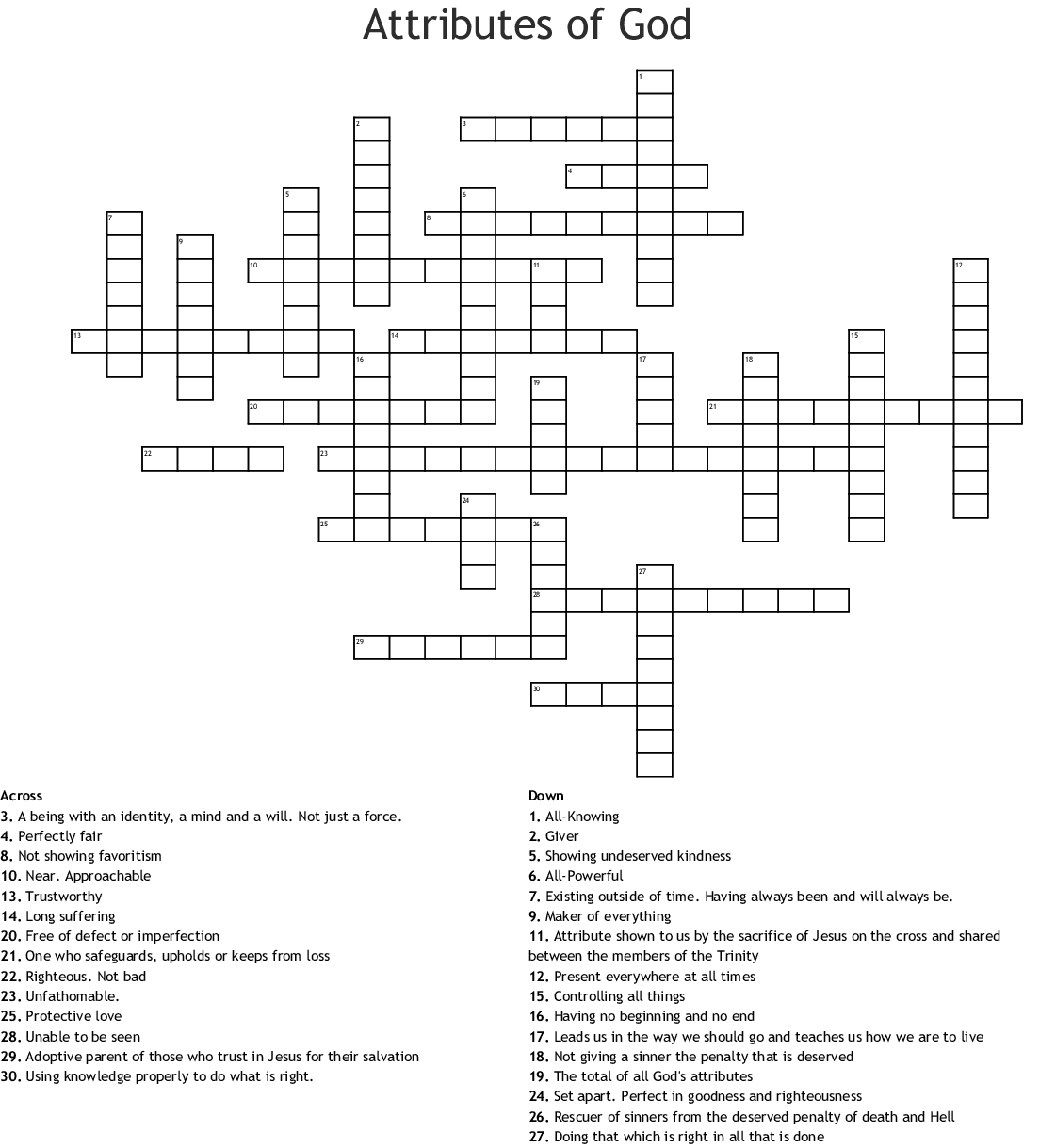 Attributes Of God Word Search