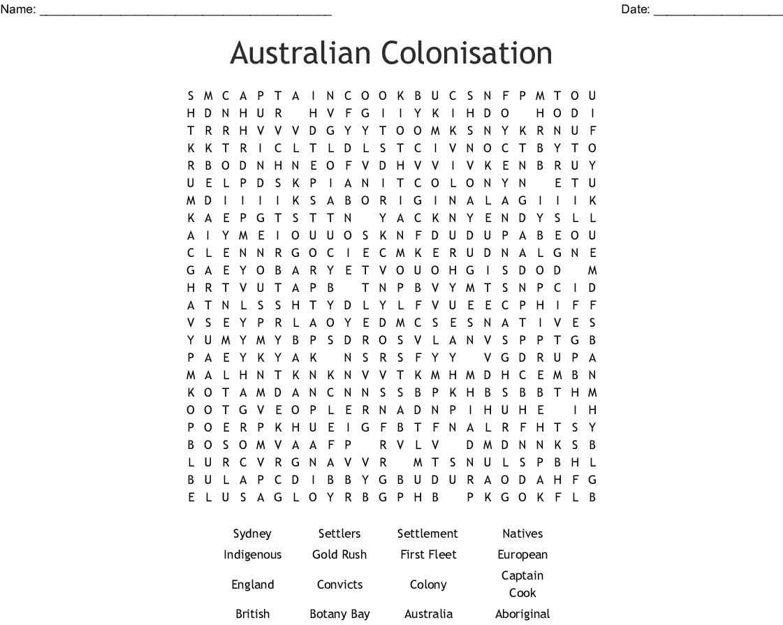 Australian Colonisation Word Search