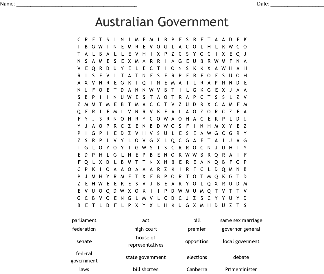 Parliament Word Search
