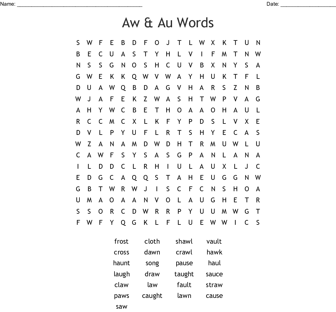 Aw Amp Au Words Word Search