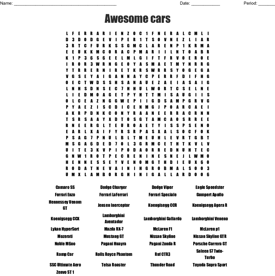 Supercars Word Search