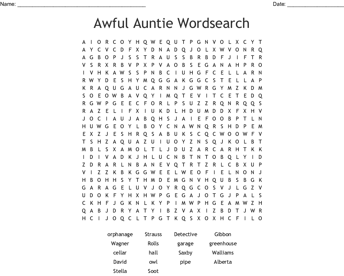 Awful Auntie Word Search
