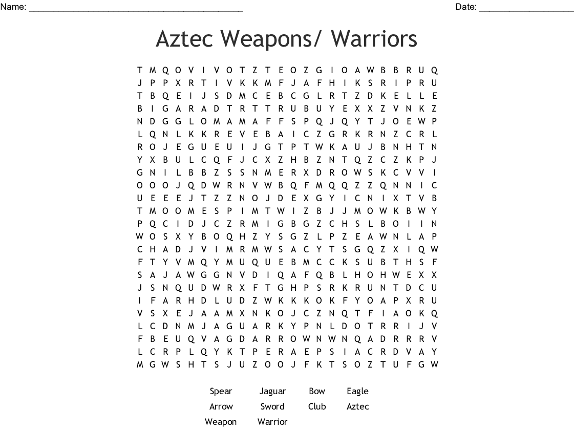 Aztec Weapons Warriors Word Search