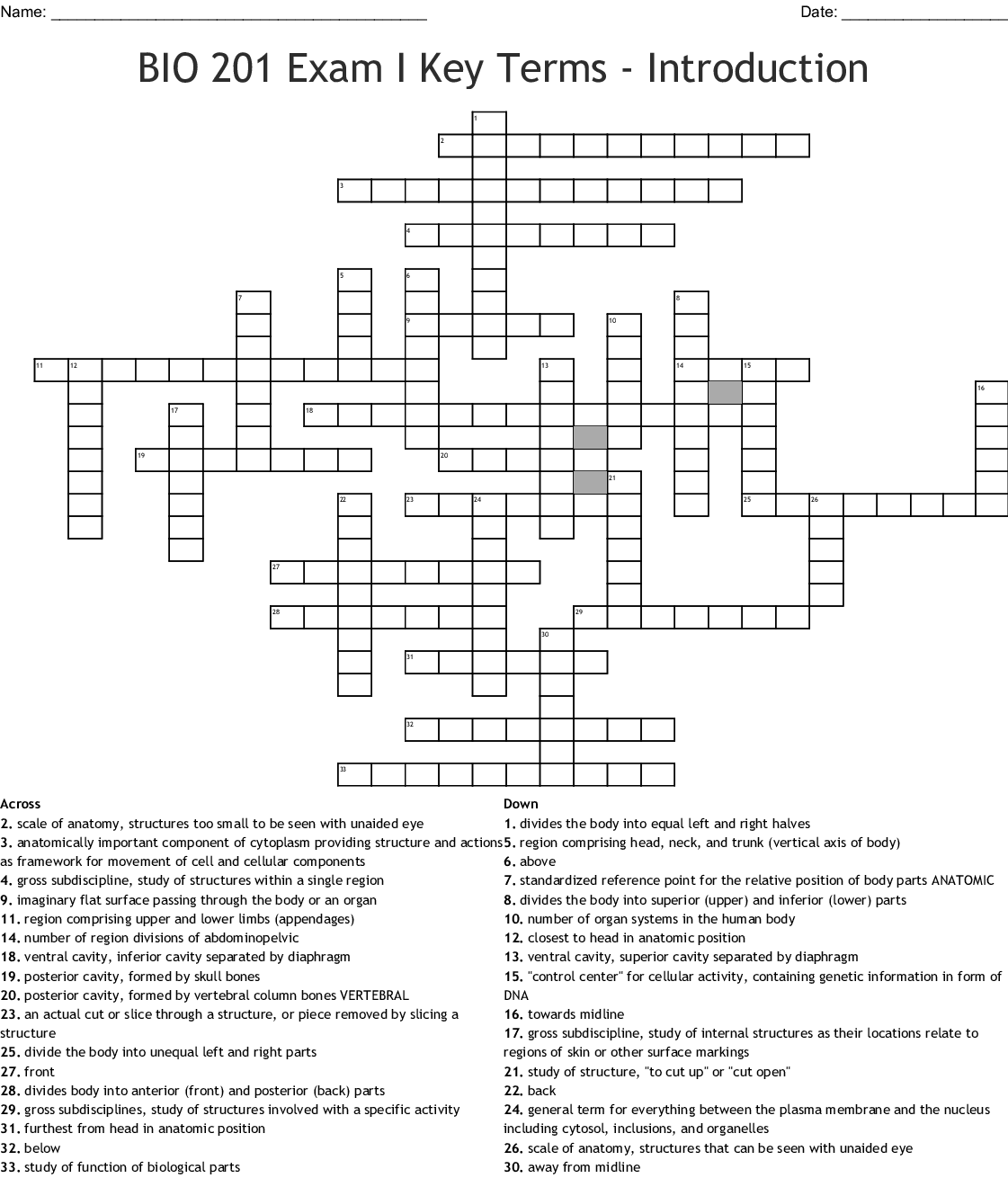 Similar To Anatomy And Physiology Chapter 1 Crossword