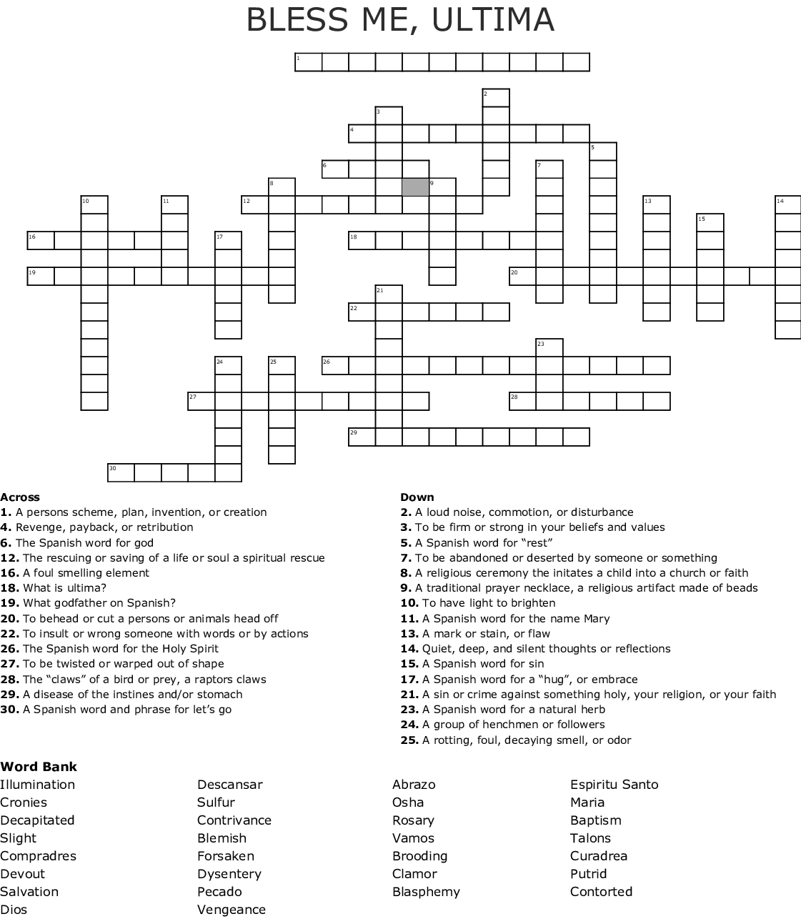 Bless Me Ultima Crossword